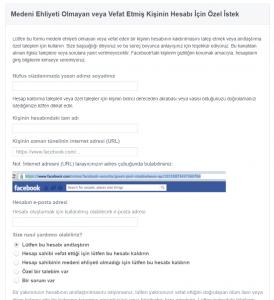 facebook ölen kişinin hesabını kapatmak