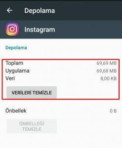 instagram arama geçmişi silinmiyor