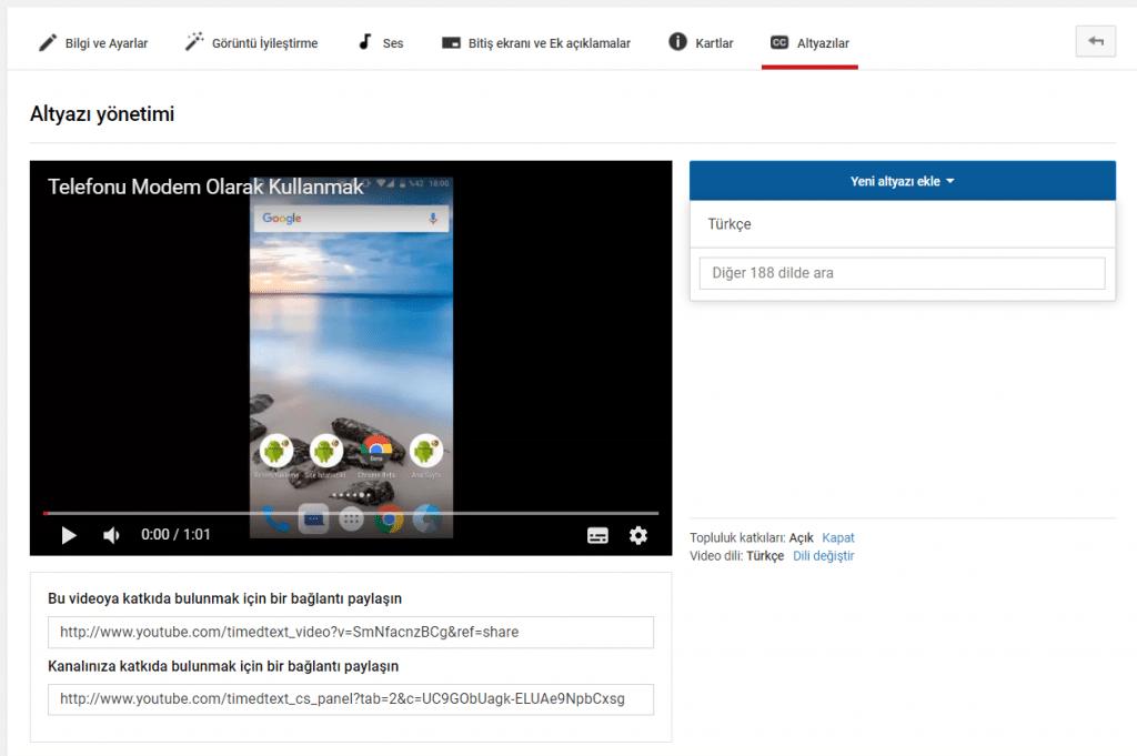 youtube kendi videoma altyazı nasıl eklerim