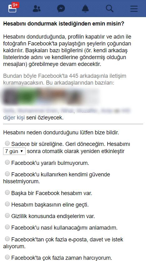 facebook hesap dondurma nedir