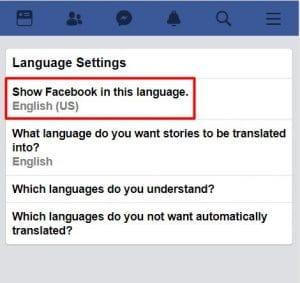 facebook dil ayarları telefon