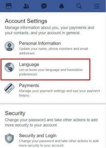 facebook ingilizce oldu nasıl türkçe yapılır mobil