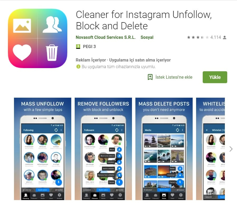 instagram takip etmeyenleri takibi bırakma programı android ios