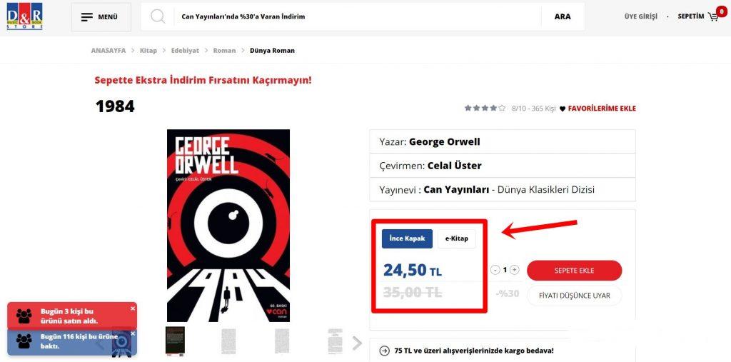 bir normal kitap ile fiyat karşılaştırması