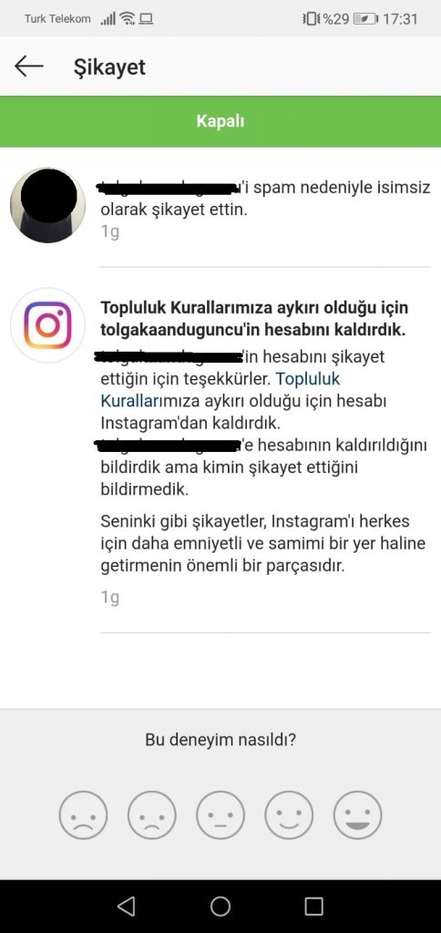 Instagram Fake Hesap Kaç Şikayetle Kapanır